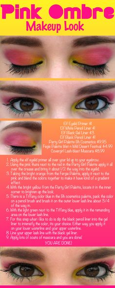 Pink Ombre Makeup Look - DIY - Tutorial - How To - Step by Step - BH Party Girl -