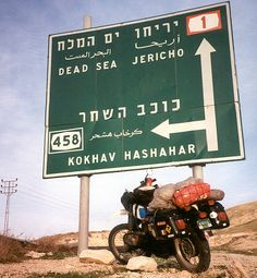The Photographer Said:  Israel Tour. The bike and I on our way south through Israel. Photo by dharmabum90 (V)