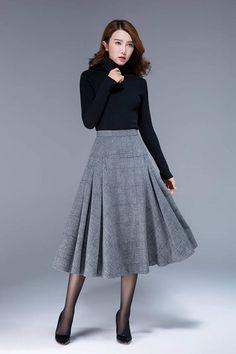 jupe à carreaux jupe laine jupe taille haute jupe ajustée