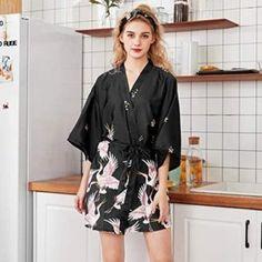 Kimono Noir, Silk Kimono, Sleepwear Women, Lingerie Sleepwear, Ladies Nightwear, Lace Lingerie, Short Satin, Pyjama Satin, Kimonos