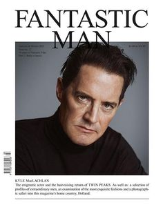 Twin Peaks Star Kyle Maclachlan Covers for Fantastic Man Magazine's A/W 2015 Fantastic Man magazine covers Twin Peaks star Kyle MacLachlan for the new double-cover designs of the magazine. The two portraits have been shot by Inez and Vinoodh. In the white cover version, the actor stars the camera lens, with tears running down the cheek. In other full red cover,#Fantastic_Man at www.magazinecafestore.com