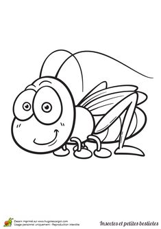 Coloriage insecte et petite bestiole, une sauterelle - Hugolescargot.com Insect Coloring Pages, Colouring Pages, Coloring Pages For Kids, Coloring Books, Cartoon Pics, Cartoon Drawings, Easy Drawings, Simple Designs To Draw, Square 1 Art