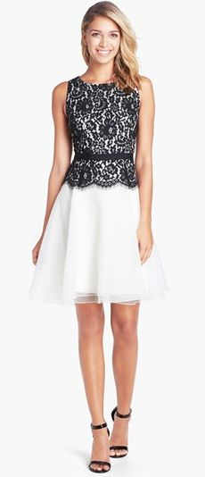 Eliza J Lace Bodice Fit & Flare Dress (Regular & Petite) Dress Skirt, Lace Dress, Lace Bodice, Waist Skirt, White Dress, Pretty Dresses, Beautiful Dresses, Creation Couture, Nordstrom Dresses