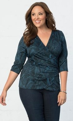 Camila Cinch Top,Teal Geo Print (Women's Plus Size)