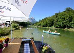 Bootsfahren auf dem Riessersee, Blick vom Strandbad am See, Garmisch-Partenkirchen, Bayern - http://www.riessersee.com/