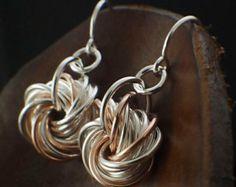 Éternité boucles d'oreilles - en argent Sterling, 14kt Or Rose rempli, 14kt or jaune rempli