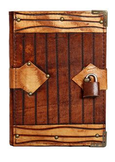 Engraved Line Padlock Refillable Leather Journal / Diary / Lock / Notebook Pad