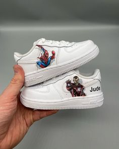 Worked on the smallest pair of Air Force I've ever done today with two VERY small portraits on them of Spider-Man and Iron man💥 glad I didn't have shaky hands today haha Marvel Shoes, Marvel Clothes, Custom Sneakers, Custom Shoes, Iron Man, Harry Potter Shoes, Tennis Vans, Cute Nike Shoes, Nike Shoes Air Force
