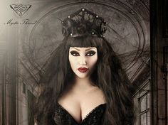 Black gothic couture lace boned crown with black feathered roses by MysticThreadDesigns on Etsy