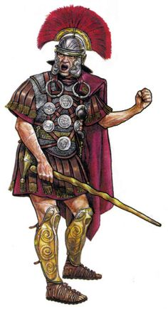 Centurion, 1st century, CE (looks like he's about to use his vitis on some hapless legionary).