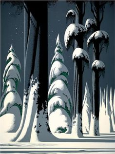 "Eyvind Earle (1916-2000), ""Yosemite"", 1994.  Eyvind was an American artist, author and illustrator, noted for creating background art for  Disney animated films in the 1950s."