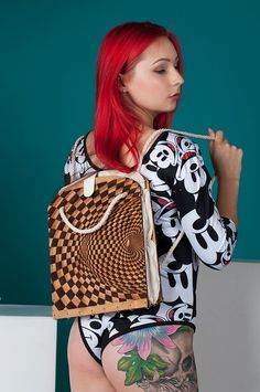 Your place to buy and sell all things handmade Wooden Bag, Wooden Gifts, Canvas Backpack, Backpack Bags, Unique Bags, Chanel Boy Bag, Unique Fashion, Laser Engraving, Transformers