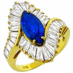 2.50ct Sapphire 2.50ct Diamond Gold Ring