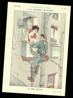 1930 ORIGINAL ART DECO PRINT - Romeo and Juliette by RENE GIFFEY (F2965)
