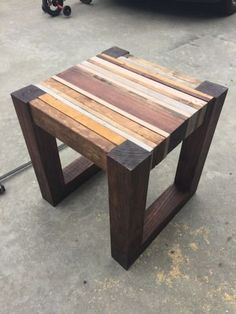 Woodworking Plans DIY Scrap wood side Table Plans - 3 - A step-by-step tutorial showing you how to make a great looking side table from your scrap pile! No woodworking experience required.