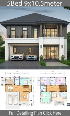 House design plan with 5 bedrooms. Style Thai StyleHouse description:Number of floors 2 storey housebedroom 5 roomstoilet 4 roomsmaid's room storey House Design House design plan with 5 bedrooms - Home Ideas Duplex House Plans, House Layout Plans, Bedroom House Plans, Dream House Plans, Small House Plans, House Layouts, House Floor Plans, 2 Storey House Design, Bungalow House Design