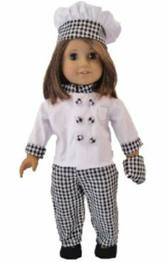 """Complete Chef's Outfit for American Girl 18"""" Dolls by The Queen's Treasures. $19.99. Designed and manufactured by The Queen's Treasures. Complete doll outfit includes Chef coat, doll hat and doll shoes and even an doll sized oven mitt. Attractively packaged in a reusable garment bag and hanger for safe keeping. Doll clothes sized perfectly to fit any American Girl or 18"""" doll. Fantastically detailed 18"""" doll clothes chefs outfit. From the Manufacturer            ..."""