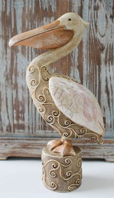 Large Decorative Resin Pelican Figuine - Nautical & Beach Cottage Decor - California Seashell Company
