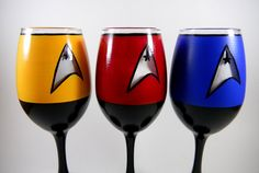 Star Trek inspired, hand painted wine glasses.