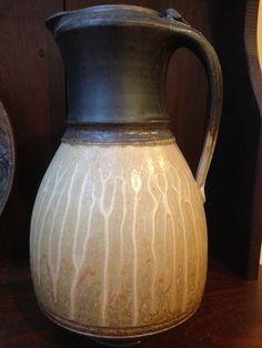 Richard Aerni  |  Wheel thrown, high fired stoneware pitcher, glazed with wood ash glazes and crystalline matte.