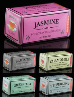 """Set Of Five Tea Box Erasers Set contains one box each of a green tea, black tea, chamomile, peppermint and jasmine scented square eraser. Each eraser is 3/4"""" square and the box is 1"""" tall, 2"""" wide and 1"""" deep. Erasers come packaged in a clear acetate box."""