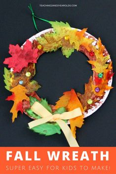 Looking for an easy and fun fall toddler and preschool art activity? These paper plate wreaths make a nice decoration for the classroom Thanksgiving feast and make a nice display for home! #thanksgiving #fall #art #AGE2 #AGE3 #AGE4