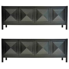 Pair of Belgian Ebonized Oak Graphic Sideboard with Pyramid Door Panels | From a unique collection of antique and modern sideboards at https://www.1stdibs.com/furniture/storage-case-pieces/sideboards/