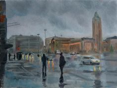 Peter Valve: Helsinki, cityscape oil painting