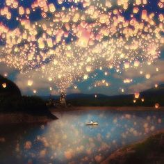 Love Wish Lanterns Wall Tapestry by Paula Belle Flores from Saved to Wall art prints, Wall Tapestries. Arte Disney, Disney Art, Disney Icons, Wish Lanterns, Sky Lanterns, Floating Lanterns, Floating Lights, Paper Lanterns, Lantern Fly