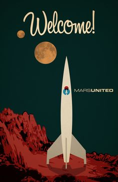 Future retro poster for fictitious airline to Mars
