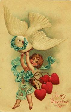 Old Valentine postcard Valentine Cupid, Valentine Images, Vintage Valentine Cards, My Funny Valentine, Vintage Greeting Cards, Vintage Holiday, Valentine Crafts, Vintage Postcards, Happy Valentines Day