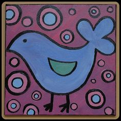 OOAK Acrylic Painting  12 x 12 Canvas  Blue by intricatechaos, $40.00