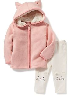 bd15581fac429a Fleece Critter Hoodie & Kitty Leggings Set for Baby Old Navy Fleece, Cute  Baby Clothes