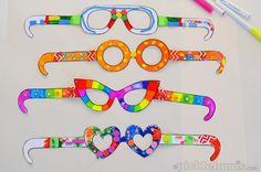 Free Printable Crazy Glasses - download, print and decorate - tie in to looking at the world through artist's eyes.
