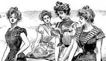 Gibson Girl style was very feminine with wide hats, high coiffure and long, elegant gowns that wrapped around her hourglass figure and tightly corseted wasp waist defined the style.