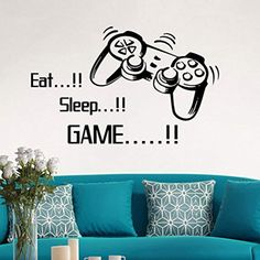 ☀ Dergo ☀ Wall Sticker,Eat Sleep Game Wall Stickers Boys Bedroom Letter DIY Kids Rooms Decoration Wall Decals Art Home Decor Wall Mural Decals Wall Stickers Gaming, Gaming Wall Art, Room Stickers, Cheap Wall Stickers, Removable Wall Stickers, Window Stickers, Wall Mural Decals, Wall Decals For Bedroom, Diy Home Decor Bedroom