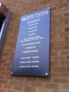 DDG Plating : Gun Metal Grey, Brushed Chrome + Copper Vintl, mounted to DiBond fixed to brick work with Alloy Stand-Offs. Nickel Plating, Chrome Plating, Nickel Silver, Nottingham, Gun, Brick, Banner, Copper, Signs