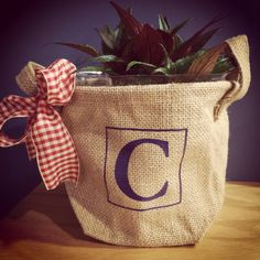 Our new adorable burlap bucket with planter liner can be used in a variety of ways! Use it as a teachers gift, for legos or small items in the kids room, hand towel and soap in the guest bath, the options are endless! Have it personalized with a name, single initial or three letter monogram! Get yours here www.monogrammusegifts.com #monogrammuse #teachersgift #burlap #bucket