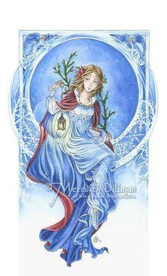 Meredith Dillman Christmas | Christmas Cards - Art Nouveau Winter by Meredith Dillman