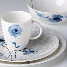 Watercolor Indigo Blue Dinnerware  It's Simply Fine, and it's simply gorgeous. As its name implies, Watercolor brings the beauty of the artist's brush to Lenox china. In the Indigo Blue pattern, pristine bone china serves as the canvas for delicate flowers in calming shades of blue. Made in USA. Also available in Citrus and Amethyst.