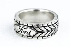 Custom Made Tire Tread Ring Car Enthuisiast Ford Sports Car Silver