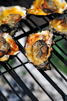 BBQ Oysters stright out of Humboldt Bay! A little Garlic butter & some Tapatio! Awesomely Delicious!