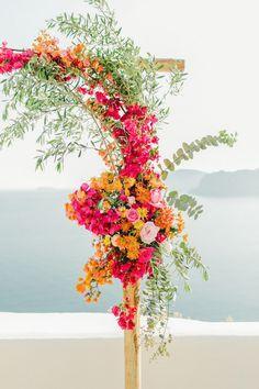 hot pink and orange wedding arch Orange Wedding Themes, Orange And Pink Wedding, Orange Wedding Flowers, Floral Wedding, Wedding Colors, Wedding Bouquets, Wedding Ceremony Ideas, Ceremony Backdrop, Wedding Notes