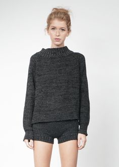 Knit Hotpants in Charcoal **Pre-Order, Ships 11/15**