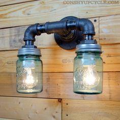 Industrial Light Fixtures, Bathroom Light Fixtures, Industrial Lighting, Mason Jar Wall Sconce, Mason Jar Lamp, Wall Sconce Lighting, Wall Sconces, Insulator Lights, Ball Mason Jars