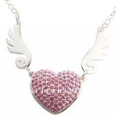 Pendrive Personalizado Joia - Coração em pedras brilhantes cor de rosa com Asas R$63.90