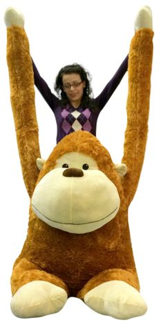 Big Plush Personalized Giant Teddy Bears and Custom Large Stuffed Animals - Giant Stuffed Gorilla with Size 63 Inches Waist Friendly Big Plush Monkey Ape Snuggle Buddy 4 Feet Tall and 4 Feet Wide and 3 Feet Deep Brown Color, $165.43 (http://www.bigplush.com/giant-stuffed-gorilla-with-size-63-inches-waist-friendly-big-plush-monkey-ape-snuggle-buddy-4-feet-tall-and-4-feet-wide-and-3-feet-deep-brown-color/)