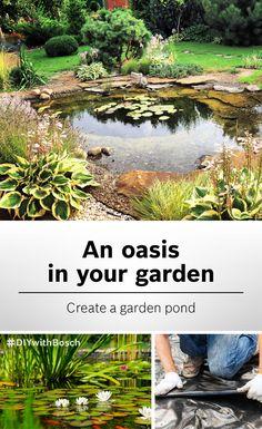 Garden Pond Design, Bog Garden, Garden On A Hill, Garden Oasis, Contemporary Garden Rooms, Diy Water Fountain, Pond Water Features, Pond Landscaping, Garden Projects