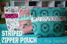 Pink Stitches: Striped Zipper Pouch Tutorial