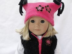 American Girl Dolls Vest & Hat  Black and by DollClothesByJane